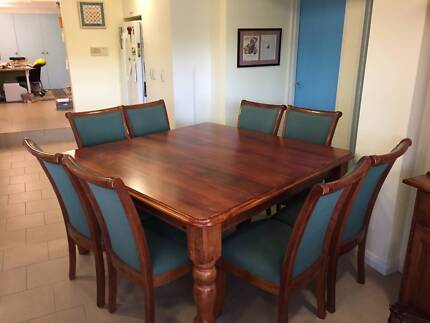 Square dining table 150 x 150cm and green chairs
