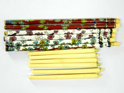 Vintage 3 Pairs of Cloisonne Chopstick Rods & Bone Sticks,Floral Pattern