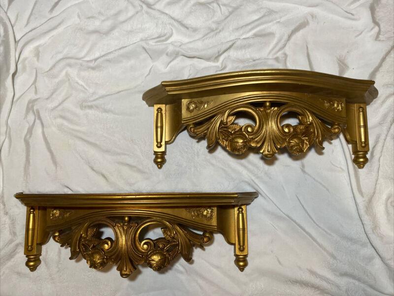 Vintage Ornate PAIR Gold Shelves Dart Industries Syroco Hollywood Regency 1975