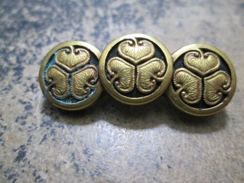 OLD EARLY MENUKI SAMURAI SWORD MON FAMILY CREST GOLD & SILVER MOUNT PIN