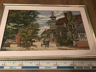 Vintage English Country Village Scene LARGE WOOLWORK TAPESTRY NEEDLEWORK PICTURE
