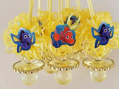 12 Nemo & Dory Yellow Pacifier Necklaces Baby Shower Game Under The Sea - Nemo Baby Shower