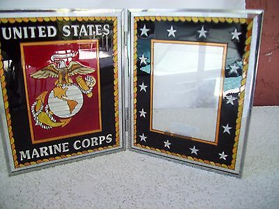 "UNITED STATES MARINE CORP HINGED GLASS PHOTO FRAME  5.5x6.5"" Opens upTo 11"" NICE"