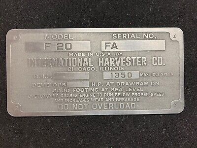 Farmall F-20 Aluminum Data Plate Tag Antique Tractor International Harvester