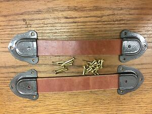 Antique Trunk Hardware-Leather Handles + Caps + Nails for Trunks & Chests--U