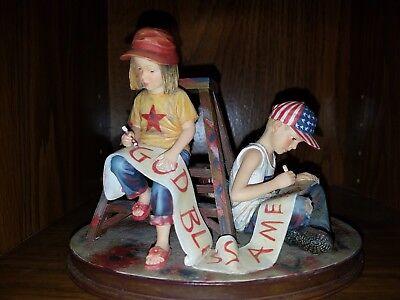 2004 Mama Says GOD BLESS AMERICA Kathy Andrews Fincher DEMDACO Figurine, 9/11 Mama Says God