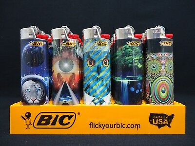 8 Bic Lighters Prismatic Multicolor Swirling Pattern Owl Tiger Animals & Nature