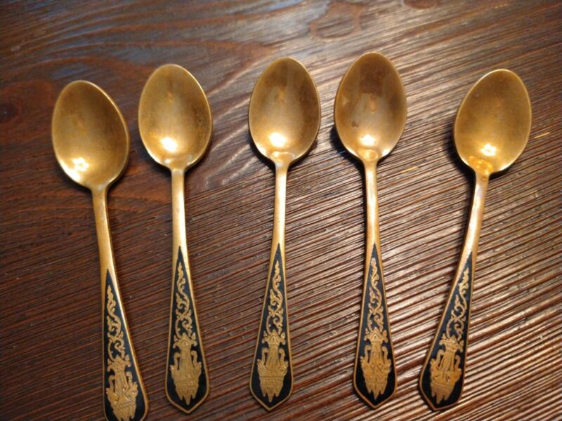 Mini Gold Spoon Set Made In Thailand, Set Of 5