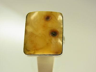 Schöner Butterscotch Egg Yolk Amber Bernstein Ring Metall versilbert Handarbeit