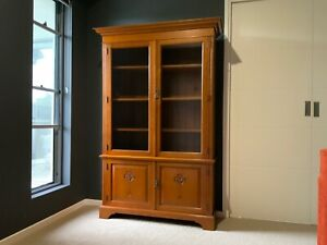 Silky Oak 4 Door Bookcase with Tulip Carvings
