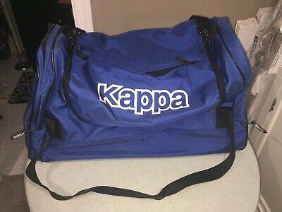 "Vintage Kappa HUGE Duffle Overnight Gym Bag 23"" Old Logo Blue Hard Bottom"