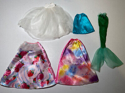 Barbie Doll Clothes - Lot 7 - 4 Skirts & Mermaid Tail - Strawberries Stars Cloud