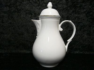 Kahla Porcelain Coffee Pot/Jug - White with Golden Rim - GDR - around 1970