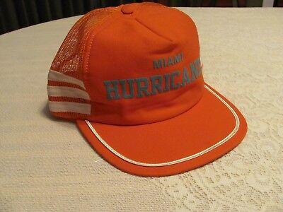 Vintage 1970's Miami Hurricanes Baseball Hat Snapback Mesh Trucker Football Cap