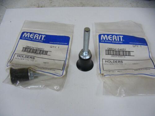 """(2) Merit Abrasive Disc Pad Holder TY2 T/O 1"""" MED 1/4"""" SK"""