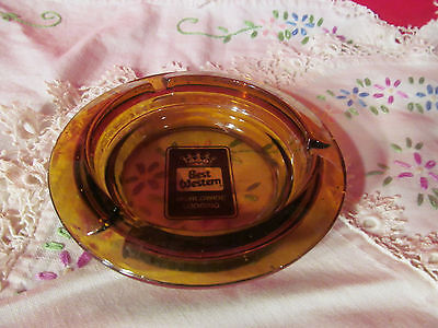 Best Western Amber Colored Glass Ashtray