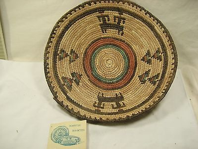 African Nigeria colorful Coiled Basket  with card