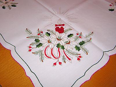 Weihnachtsdecke Tischdecke Mitteldecke mit Stickerei und Goldfäden 85x83 cm, NEU ()