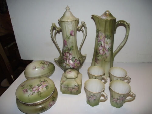 9pc VTG repro NIPPON Pink CHOCOLATE POT 4 Tea Cup DRESSER SET Green Wildflower