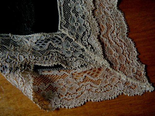 Exquisite hanky mourning black soft silk valenciennes gold Alencon lace trim