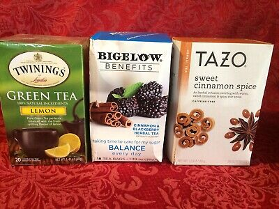 Assorted Lot Tazo Sweet Cinnamon Spice Twinings Green Tea Lemon Bigelow Balance