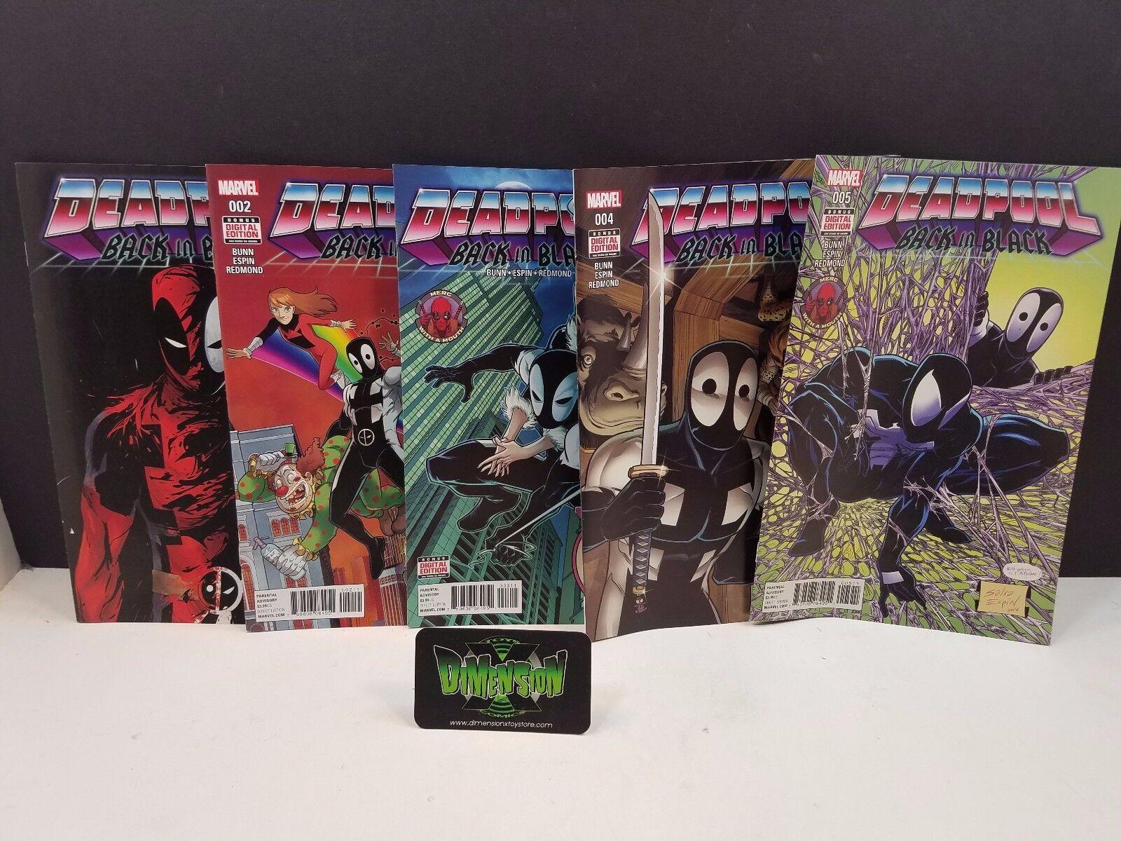 Deadpool Back in Black #1,2,3,4,5 Set NM Marvel Comics Full Run Spider Venom