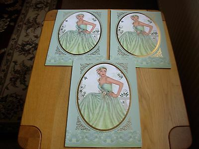 3 x A4 PRE-SCORED CARDS WITH ELEGANT LADY, BLANK INSIDE,