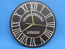 Big clock London Grand Theatre Wall plaque white Roman numerals on natural wood