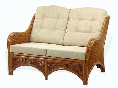 Lounge Loveseat Sofa Jam Natural Handmade Rattan w/Cream Cushions, Cognac