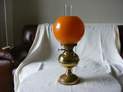 Original Vintage Paraffin/oil Lamp Orange Shade
