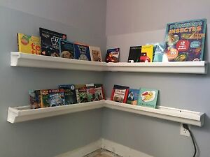 Eavestrough (rain gutter) book shelves
