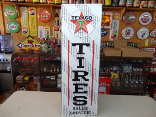 """BEAUTIFUL TEXACO TIRES MODERN  SIGN 42"""" X 14"""" EMBOSSED IN BEAUTIFUL LICENSED"""
