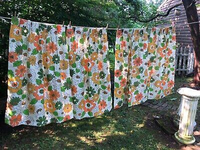 """Vtg 60s/70s Flower Power Orange Pinch Pleat Curtain Retro 4 Panels 51"""" ~ Hippie"""
