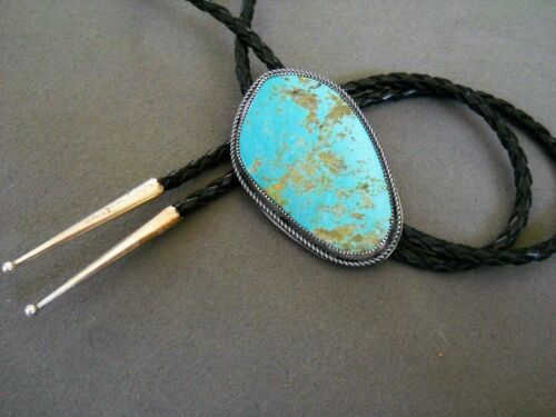Southwestern Native American Indian Blue Turquoise Sterling Silver Bolo Tie