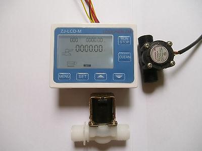 New G12 Water Flow Control Lcd Displayflow Sensor Metersolenoid Valve Gauge
