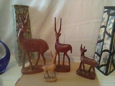 4 Vintage Hand Carved Teak Wood Antelope Deer Gazelle Impala Mid Century kitsch.
