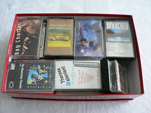 Box of 35 commercial audio cassettes