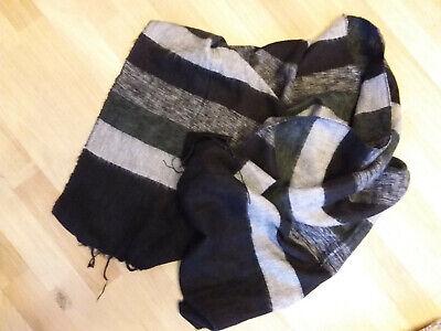 Schal Tuch Decke Yak Baby Yakwolle schwarz grau gestreift Nepal kuschelig gebraucht kaufen  Moers