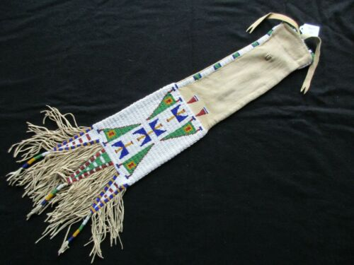NATIVE AMERICAN BEADED PIPE BAG, RARE DOUBLE SIDED CHANUPA BAG, SD-1021*05986
