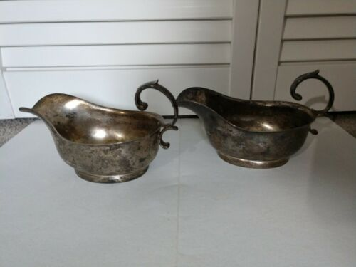 Vintage Set of 2 Footed Silverplate Gravy Sauce Boats - No Markings