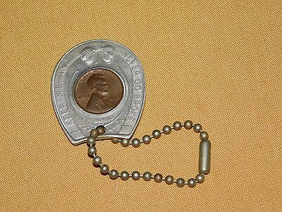 1947 US CENT GOOD LUCK PENNY STANDARD HORSE NAIL CORP NEW BRIGHTON PA KEYCHAIN