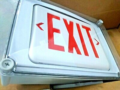 Hubbell Dual-lite Eve4xrw Led Exit Sign Red White Nema 4x Ip66 120277vac
