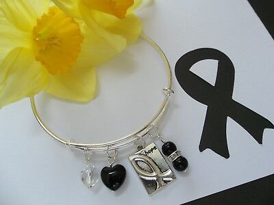 Melanoma Cancer  Awareness Charm Bangle Bracelet