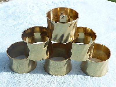 Napkin Rings Made in India - Swirl Gold Brass Tone ~ Set of 6