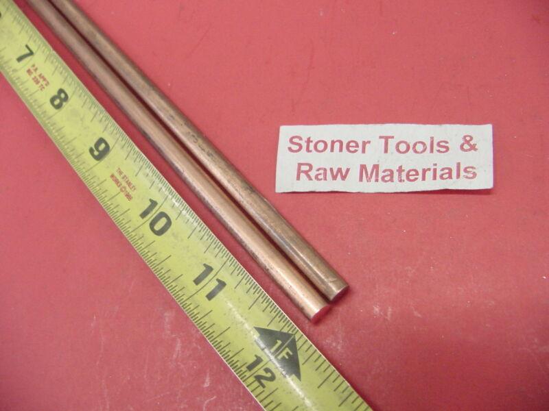 "2 Pieces 1/4"" C110 COPPER ROUND ROD 12"" long H04 .250"" CU New Lathe Bar Stock"
