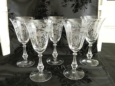 "(5) Gorgeous 1930's Fostoria ""Corsage"" Crystal Water Goblets"