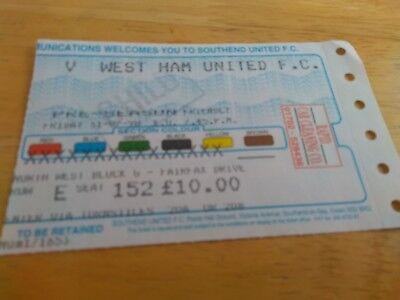 Southend United v West Ham United 31/7/98 Ticket