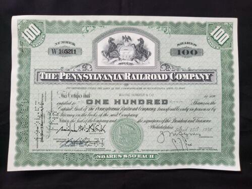 VINTAGE STOCK certificate The Pennsylvania Railroad Company 1956