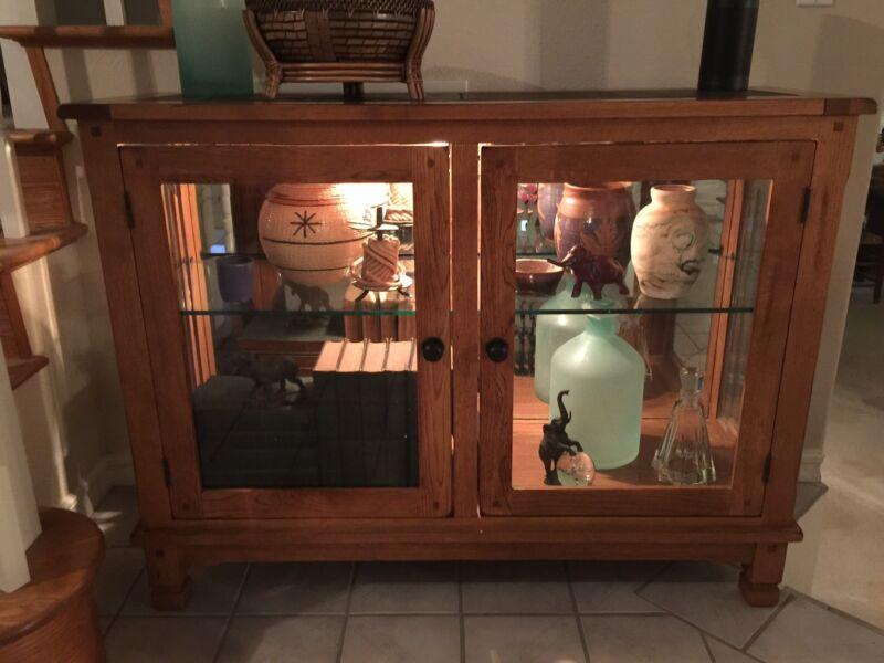 VINTAGE BEVELED GLASS MIRROR BACK MISSION ARTS & CRAFT WOOD DISPLAY CABINET CASE