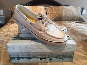 SPERRY BOAT SHOE WOMENS WHITE SEQUIN